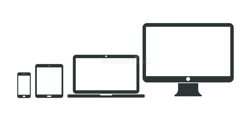 Reeks computer, laptop, tablet en smartphonepictogrammen Vector illustratie stock illustratie