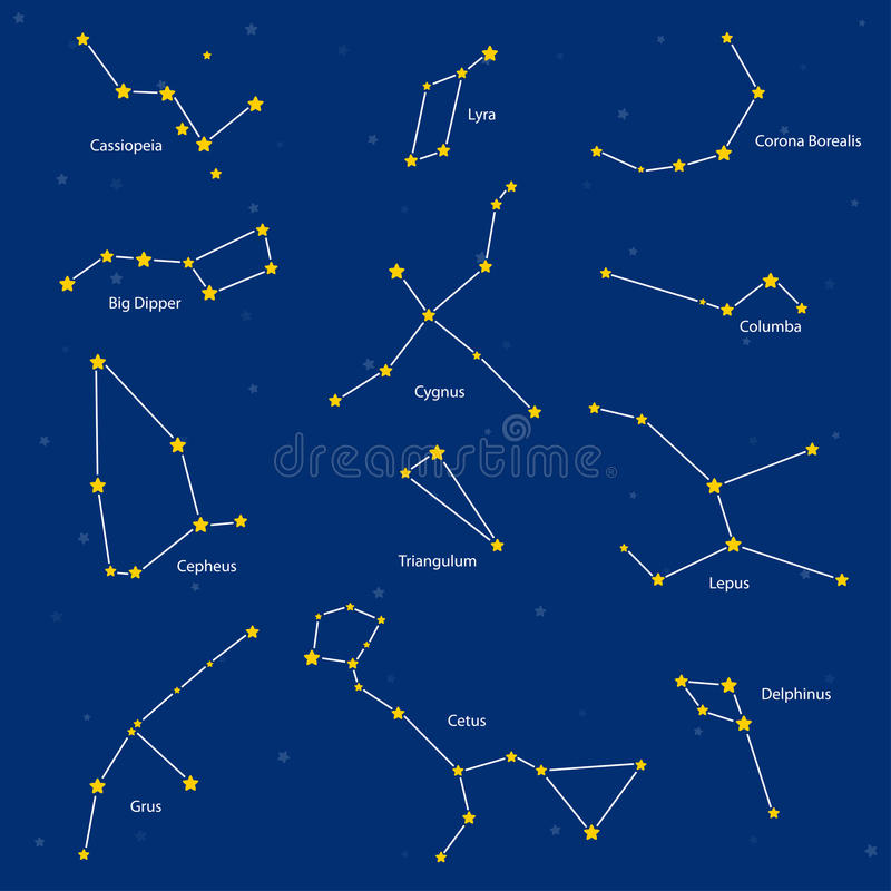 Reeks constellaties, illustratie stock illustratie
