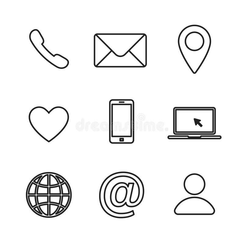 Reeks contact ons lineair pictogram Afzonderlijke webcommunicatiepictogrammen Internetpictogram e-mailadres locatie royalty-vrije illustratie