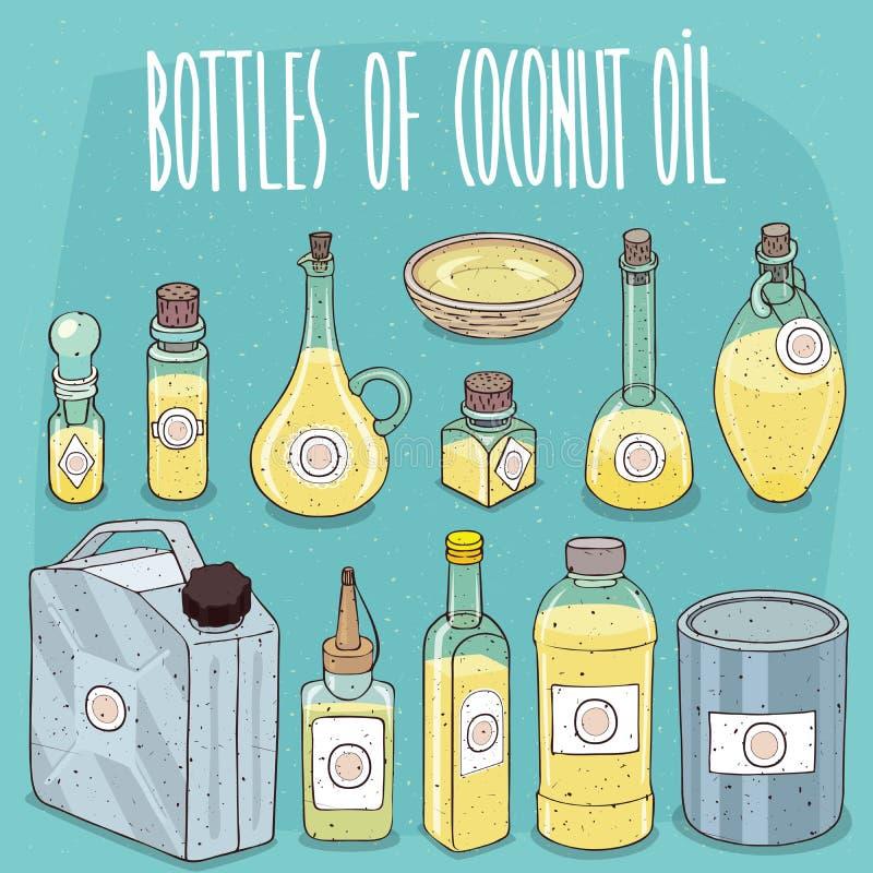 Reeks containers met Kokosnotenolie vector illustratie