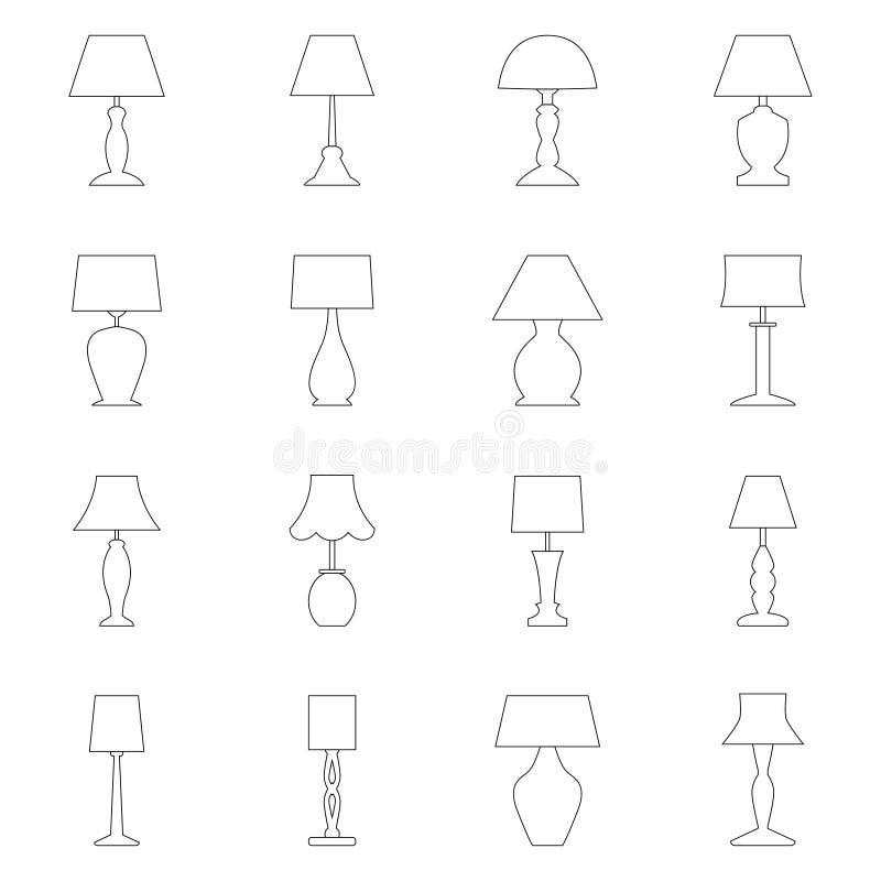 Reeks contouren van lampen, vectorillustratie vector illustratie