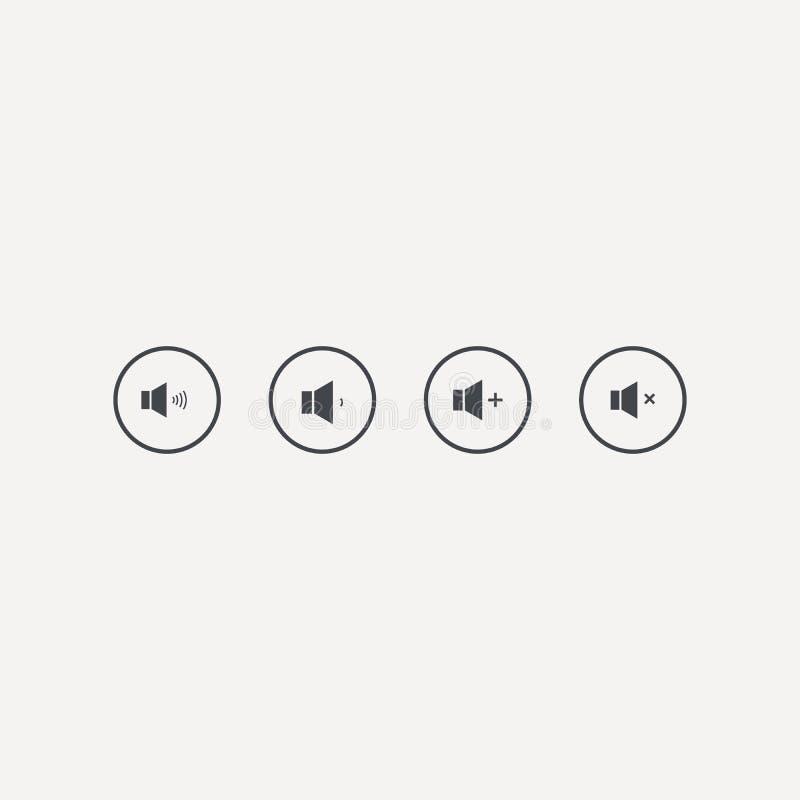Reeks correct volumepictogrammen Spreker op witte achtergrond wordt ge?soleerd die Vector illustratie stock illustratie
