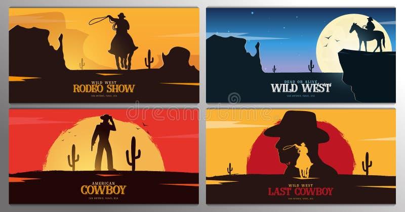 Reeks Cowboybanners rodeo De banner van Wilde Westennen texas Vector illustratie stock illustratie