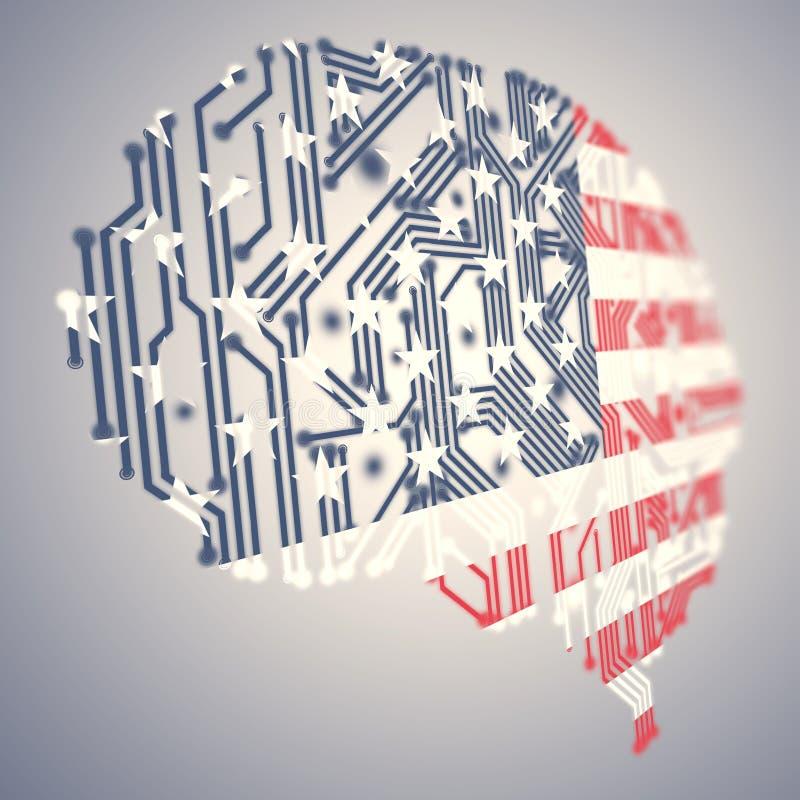Reeks creatief gevormd en gevormde vlaggen van de V.S. - digitale hersenen stock illustratie
