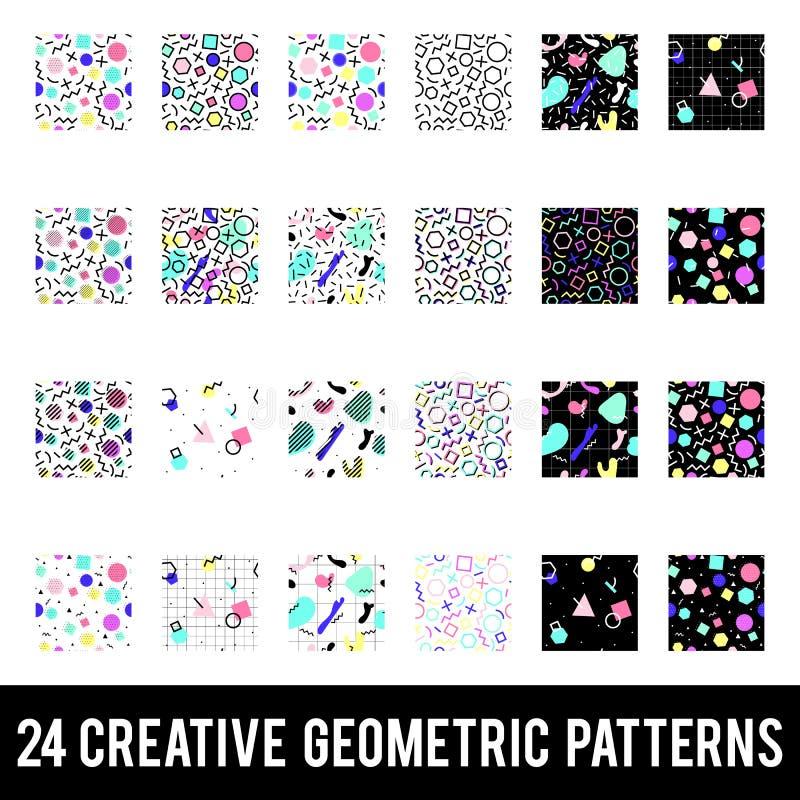 Reeks creatieve geometrische patronen De stijl van Memphis Kleurrijke samenvatting stock illustratie
