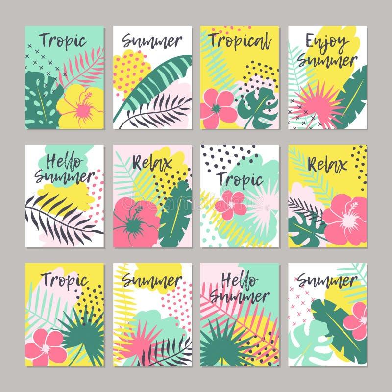 Reeks creatieve universele bloemenkaarten in tropische stijl vector illustratie