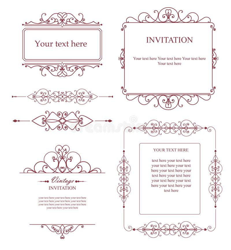 Reeks creatieve vectormalplaatjes voor emblemen, etiket of banners op het thema van kwaliteit en zaken in uitstekende stijl royalty-vrije stock foto