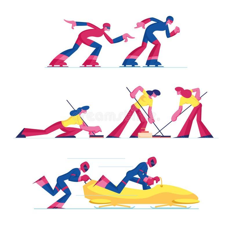 Reeks Curling, de Schatting van de Snelheid en de Mededinging van de Sport Bobsled die op Witte Achtergrond wordt geïsoleerd Spor stock illustratie