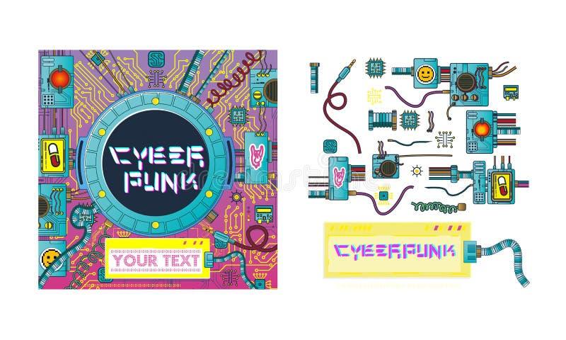 Reeks cyberpunk futuristische affiche met retro van het de affichemalplaatje van technologie van spelenelementen abstracte modern royalty-vrije illustratie