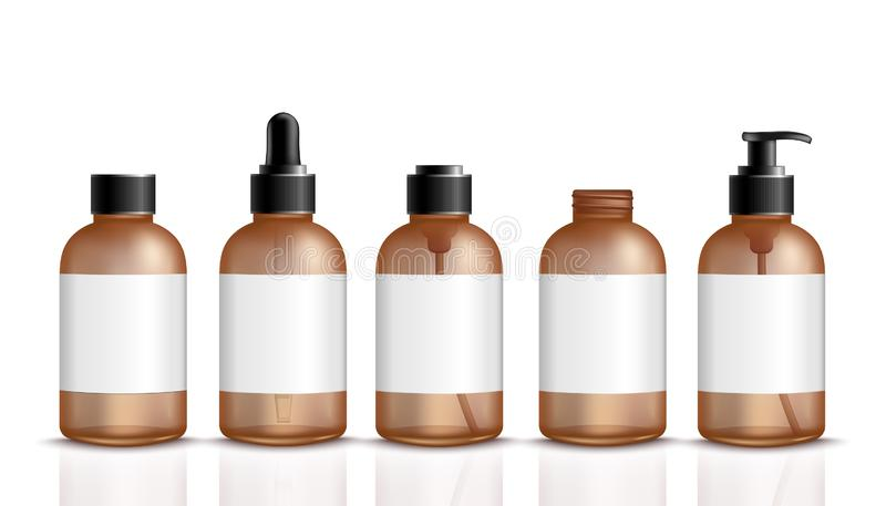 Reeks 3d bruine flessen voor kosmetische of medische product realistische stijl royalty-vrije illustratie