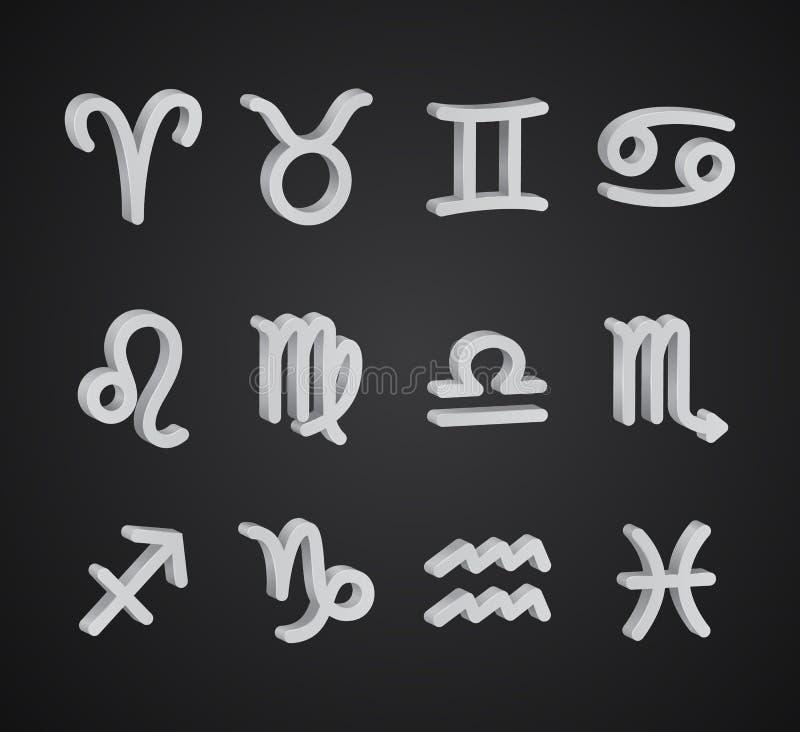 Reeks 3D dierenriemsymbolen vector illustratie