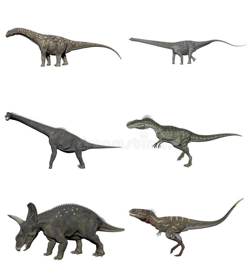 Reeks 3D dinosaurussen - geef terug vector illustratie