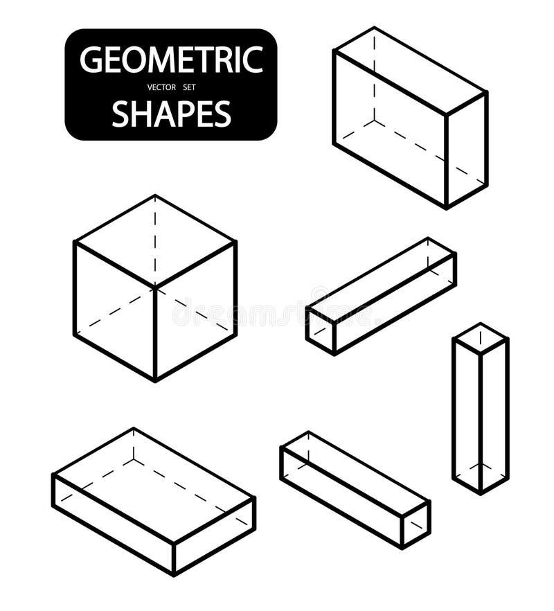 Reeks 3D geometrische vormen Isometrische meningen De wetenschap van meetkunde en wiskunde Lineaire die voorwerpen op witte achte stock illustratie