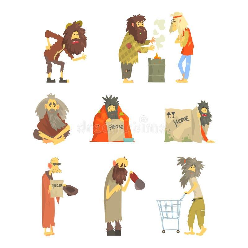 Reeks dakloze mensen, karakters in vuile gescheurde kleren Werkloosheid en de dakloze vectorillustraties van het kwestiesbeeldver vector illustratie