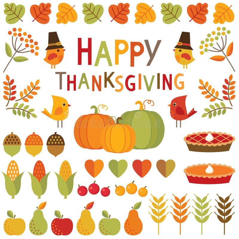 Reeks dankzegging en de herfstontwerpelementen vector illustratie