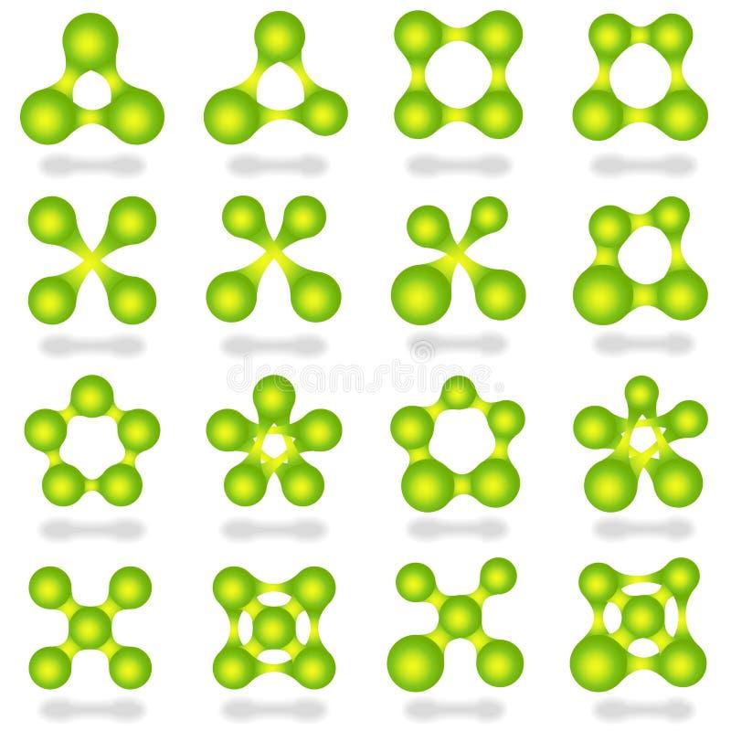 Reeks 16 de abstracte groene pictogrammen van de metabal royalty-vrije illustratie
