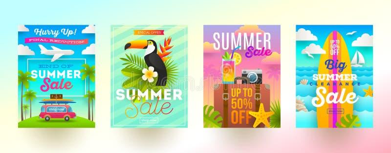Reeks de bevorderingsbanners van de de zomerverkoop Vakantie, vakantie en reis kleurrijke heldere achtergrond Affiche of bulletin