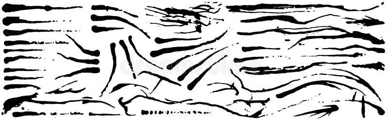 Reeks de borstelslagen van de grungeinkt Zwarte artistieke verf, getrokken hand Droge die de elementeninzameling van de Borstelsl stock illustratie