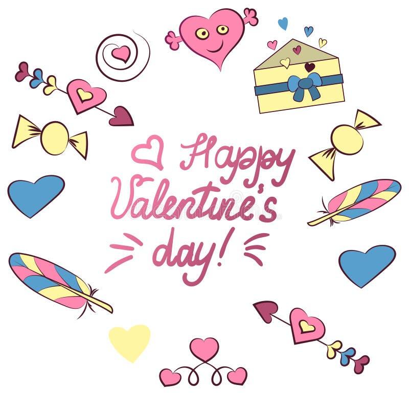 Reeks de dagelementen van Valentine s op witte achtergrond worden ge?soleerd die Illustratie Hart, brief, pijl, suikergoed, veer, vector illustratie