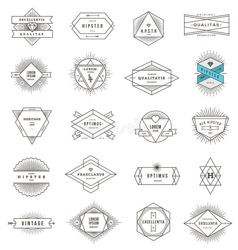 Reeks de emblemen en tekens van de hipsterlijn vector illustratie