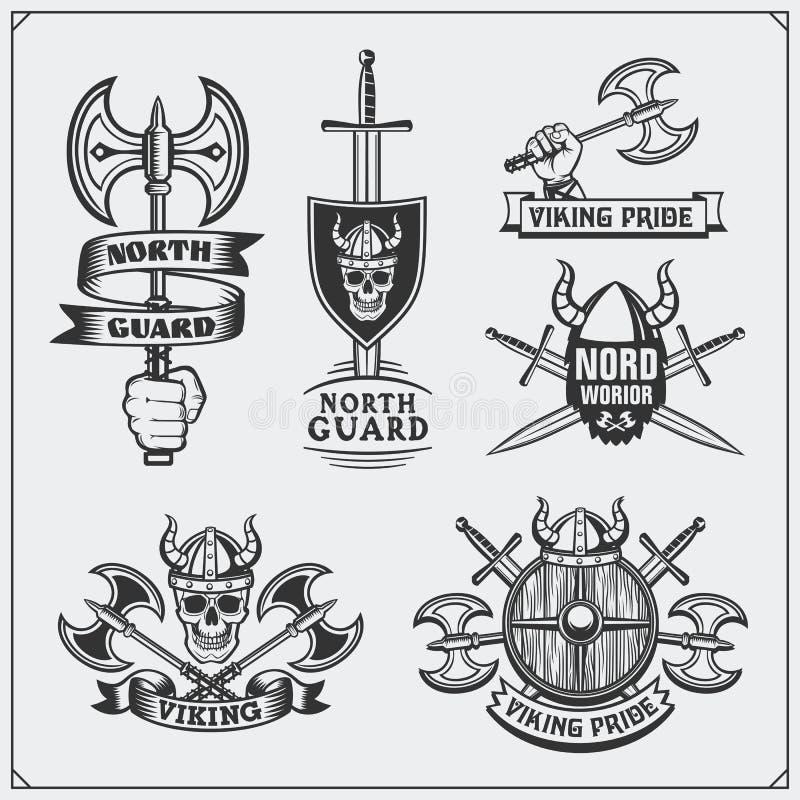 Reeks de etiketten, de kentekens en emblemen van Viking Schedels en assen Uitstekende stijl royalty-vrije illustratie