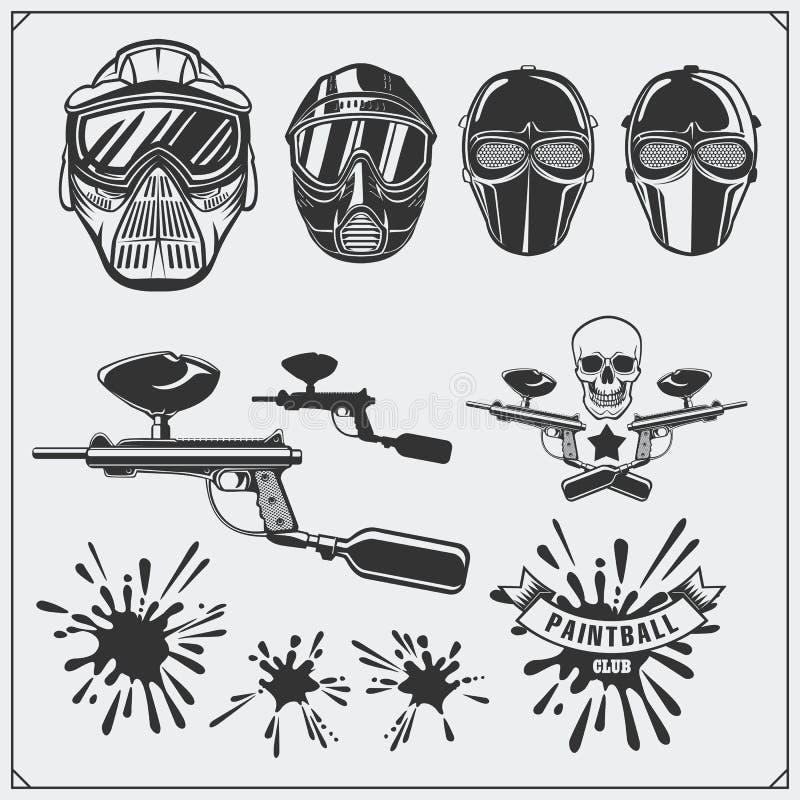 Reeks de etiketten van de paintballclub, emblemen, symbolen, pictogrammen en ontwerpelementen Paintballmateriaal vector illustratie