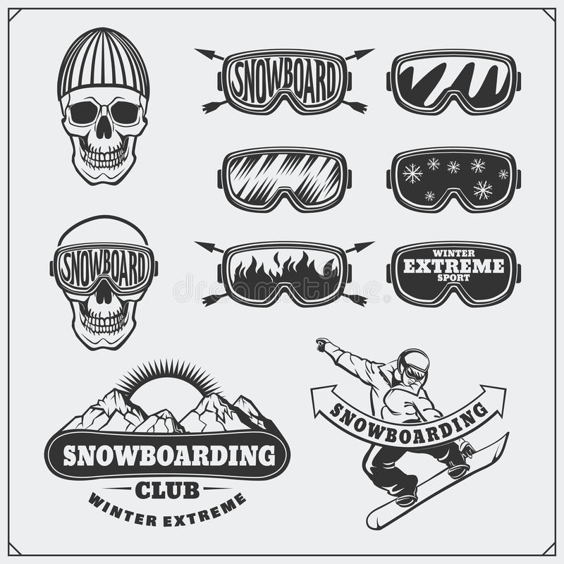 Reeks de extreme etiketten van Snowboarding, emblemen, kentekens en ontwerpelementen De uitstekende symbolen van het bergavontuur royalty-vrije illustratie