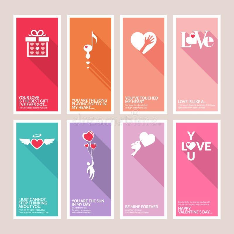 Reeks de groetkaarten van de Valentijnskaartendag vector illustratie