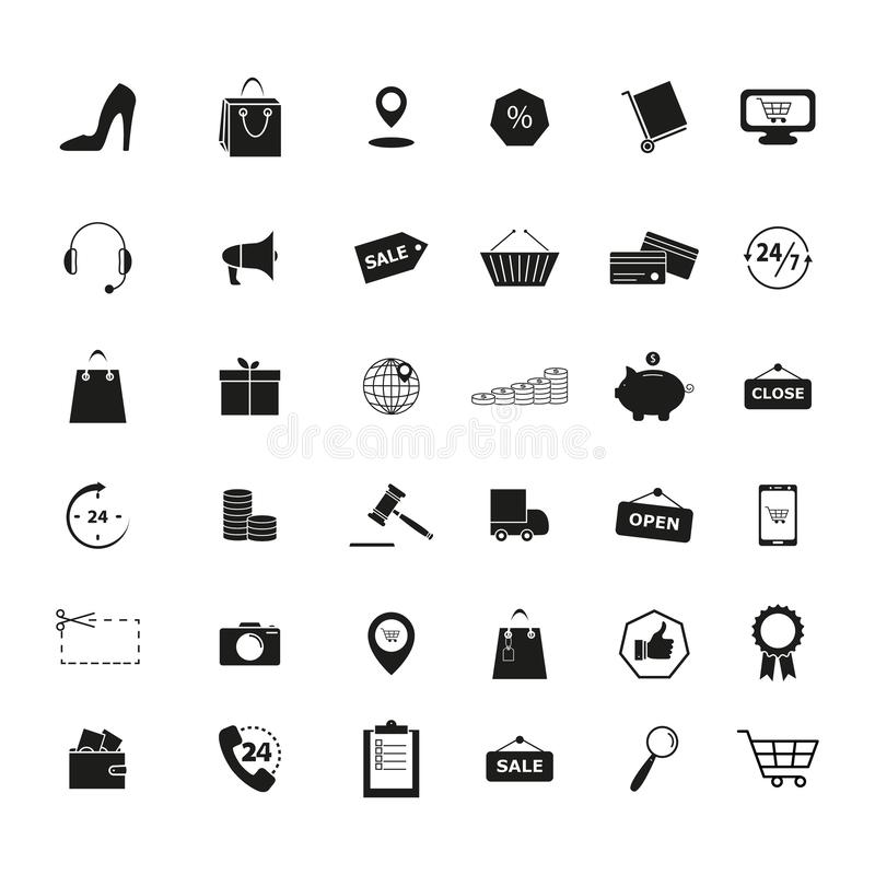 Reeks de handelspictogrammen van de Kleinhandelswinkelmarkt royalty-vrije illustratie