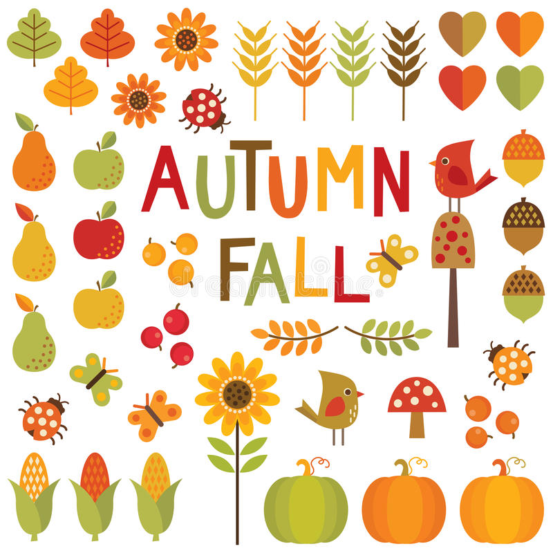 Reeks de herfst en dalingsontwerpelementen vector illustratie