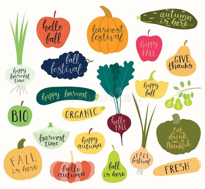 Reeks de herfst, oogstcitaten in vruchten en groenten stock illustratie