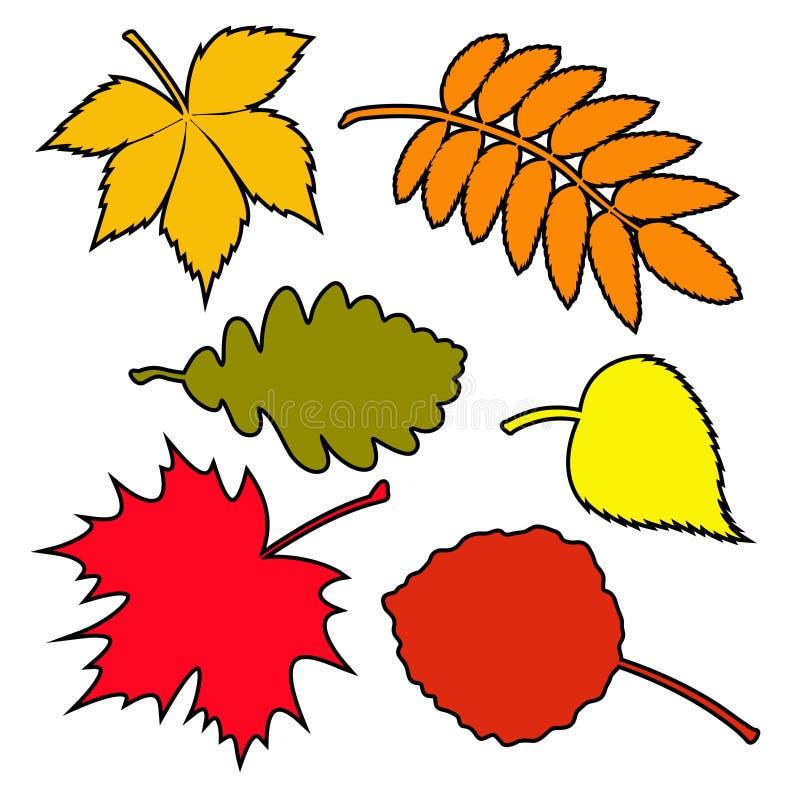 Reeks de herfstbladeren stock illustratie
