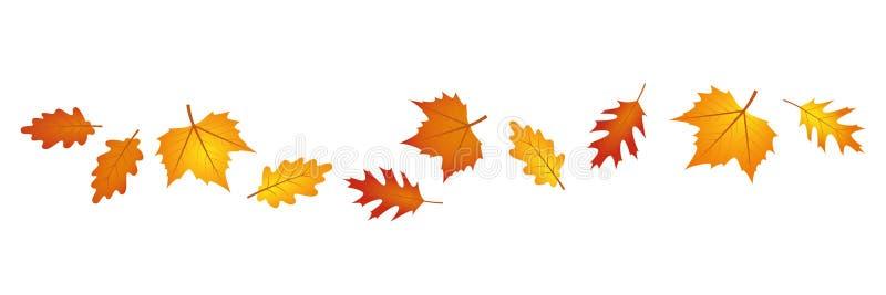 Reeks de herfstbladeren in de wind op witte achtergrond stock illustratie
