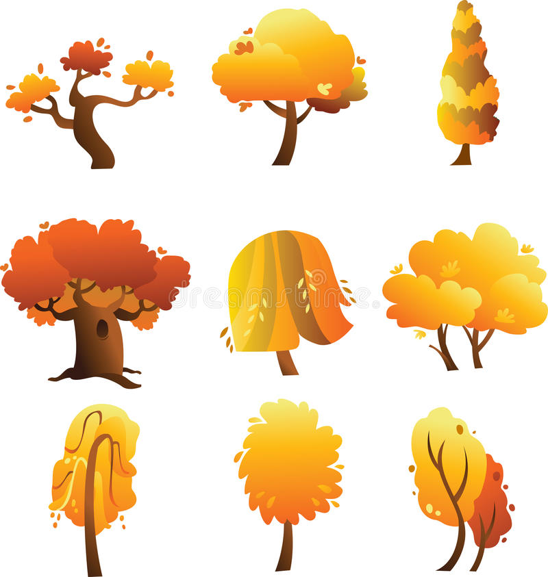 Reeks de herfstbomen die op de witte achtergrond wordt geïsoleerdw vector illustratie