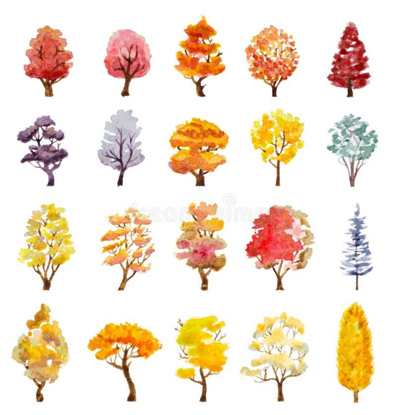 Reeks de herfstbomen Hand getrokken waterverfillustratie royalty-vrije illustratie