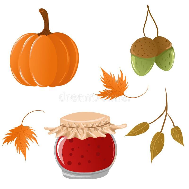 Reeks de herfstpictogrammen royalty-vrije illustratie