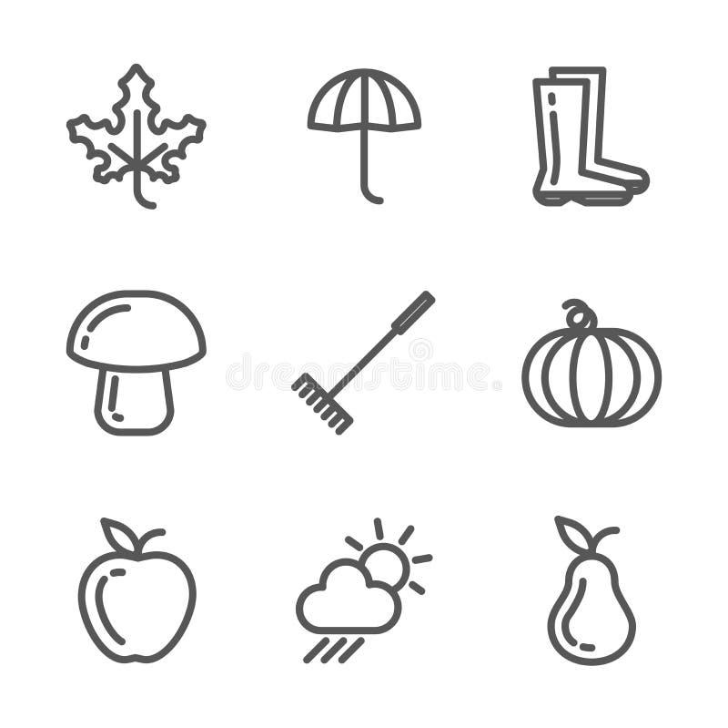 Reeks de herfstpictogrammen Inzameling van lineaire zwart-wit symbolen royalty-vrije illustratie