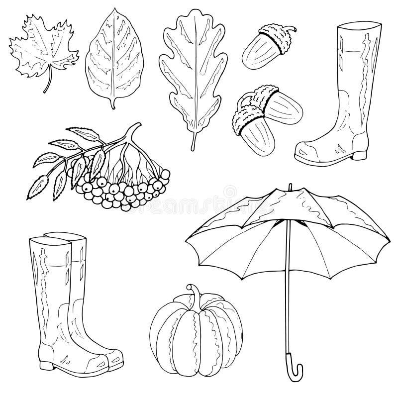 Reeks de herfstvoorwerpen Esdoornblad, een eiken blad, een eikel, rubberlaarzen, een paraplu, een lijsterbes, een pompoen vector illustratie