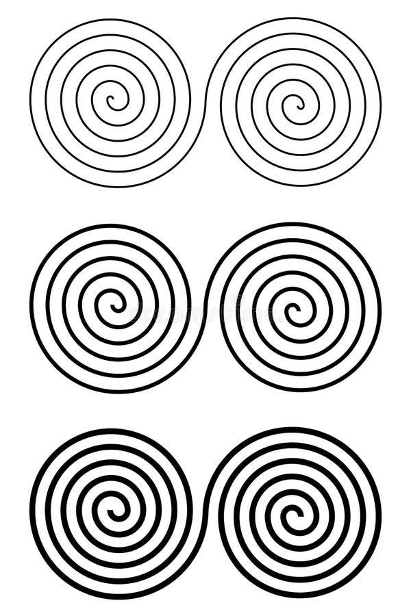 Reeks de illusieelementen van de ontwerp zwart-wit spiraalvormige beweging stock illustratie