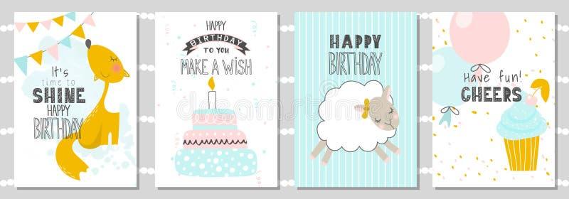 Reeks de kaarten van de Verjaardagsgroet en malplaatjes van de partijuitnodiging met leuke vos, schapen en cake Vector illustrati stock illustratie