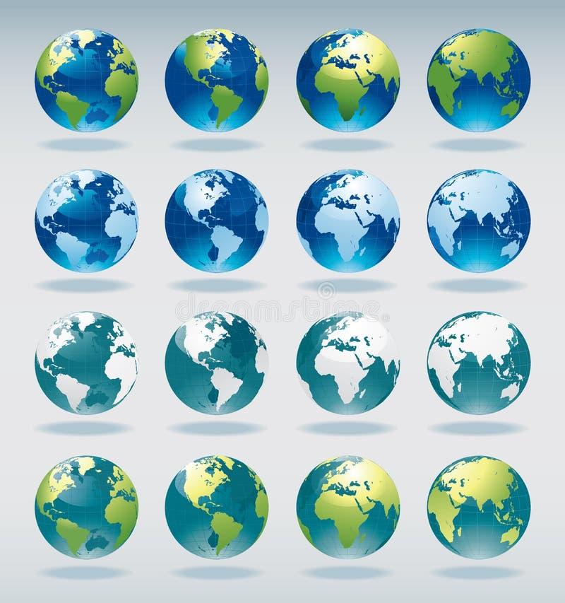 Reeks de kaartpictogrammen van de wereldbol royalty-vrije illustratie