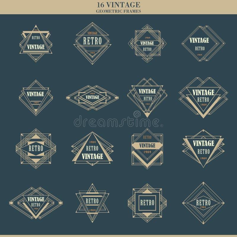 Reeks de kadersgrenzen van het lijnart deco logotypes stock illustratie