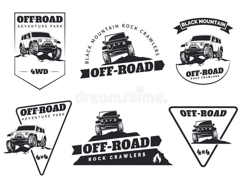 Reeks de klassieke off-road emblemen, de kentekens en pictogrammen van de suvauto Rots royalty-vrije illustratie