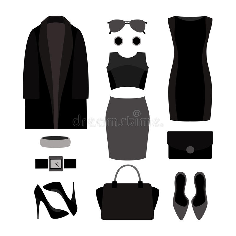 Reeks de kleren en toebehoren van zwart-wit in vrouwen royalty-vrije illustratie