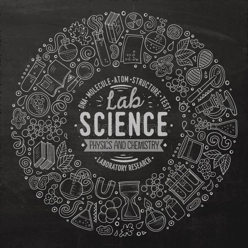 Reeks de krabbelvoorwerpen, symbolen en punten van het Wetenschapsbeeldverhaal royalty-vrije illustratie