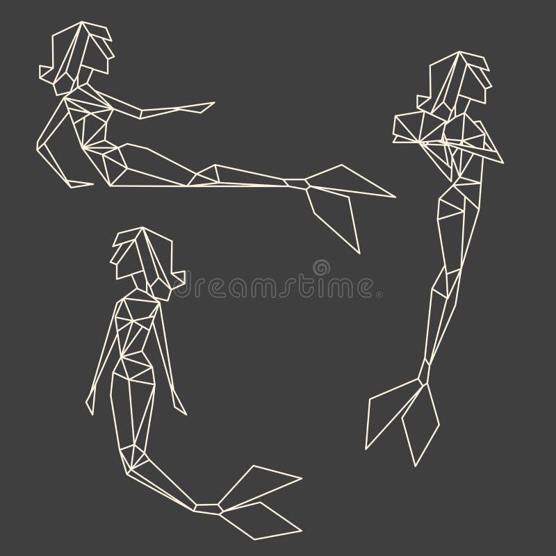 Reeks de kunst grafische meerminnen van de veelhoeklijn stock illustratie