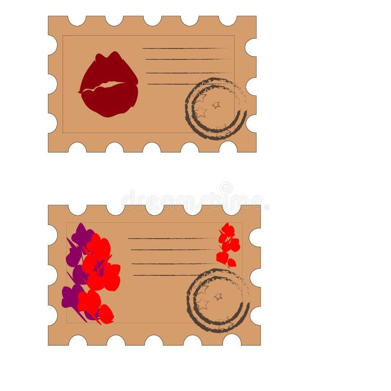 Reeks de lente en de dagpostzegels van Valentine royalty-vrije illustratie