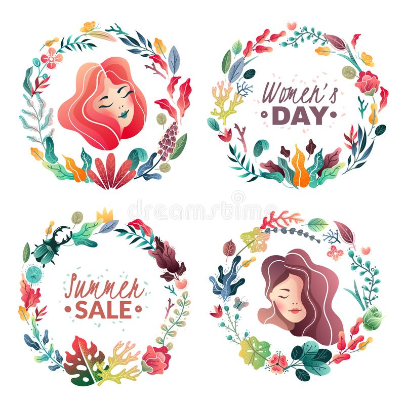 Reeks de lente-zomer decoratieve kronen voor banners en kaarten De verkoop van de zomer De dag van de vrouw ` s stock illustratie