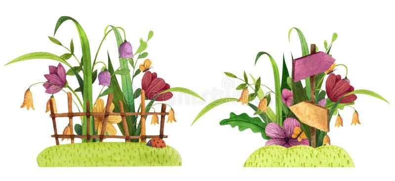 Reeks de lente, de zomertuin en bosboeketten met gras, omheining, bloemen, bladeren en takken vector illustratie