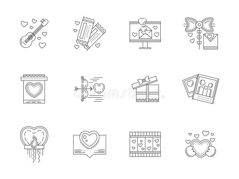 Reeks de lijnpictogrammen van liefdegebeurtenissen stock illustratie
